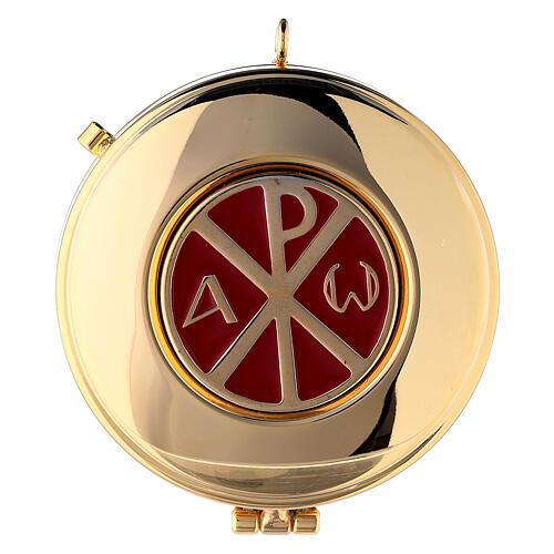 Étui damassé en jacquard doré avec cordelette pour custode à hosties diam. 7,5 cm 2