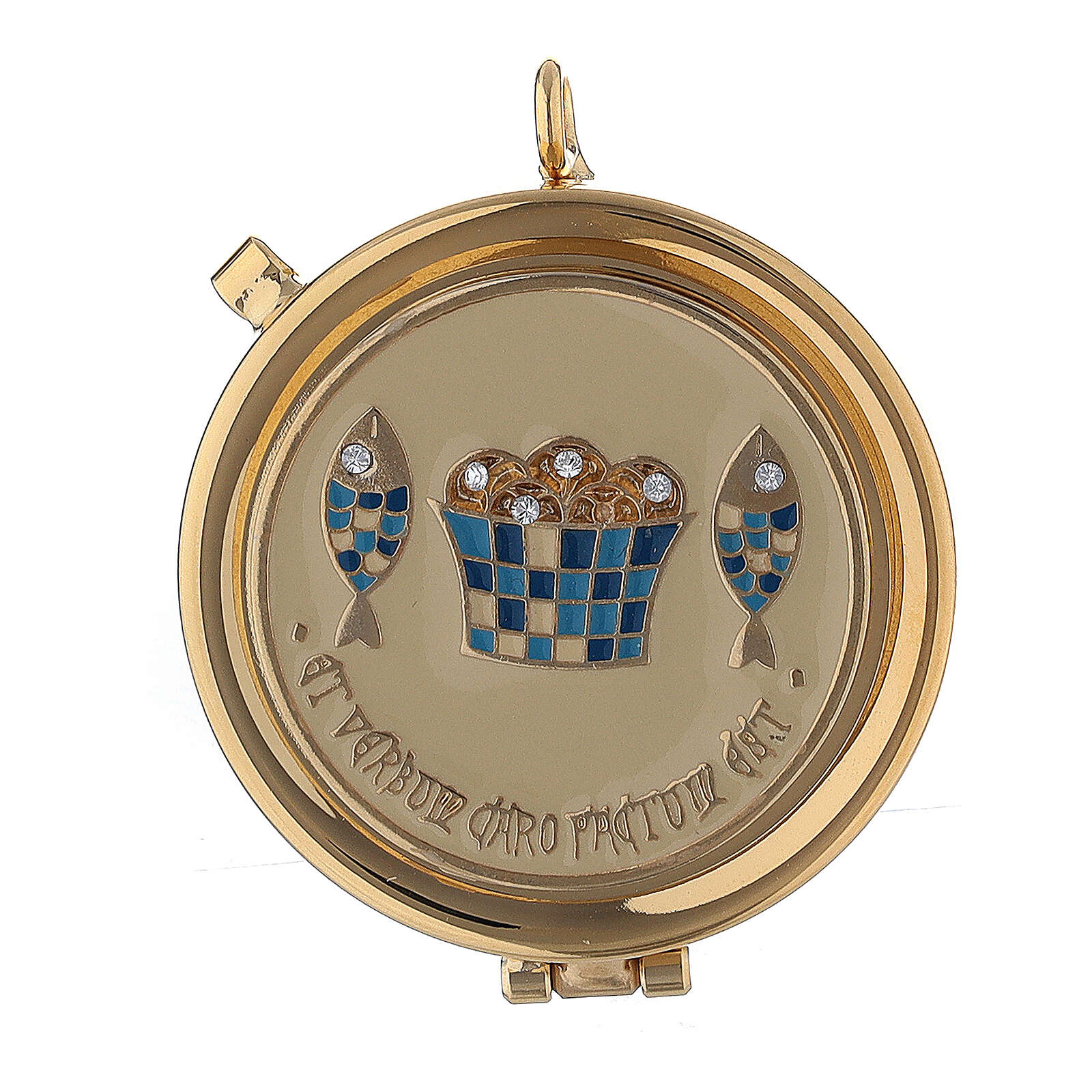 Enamelled pyx with loaves and fish engraving 2 in diameter 3