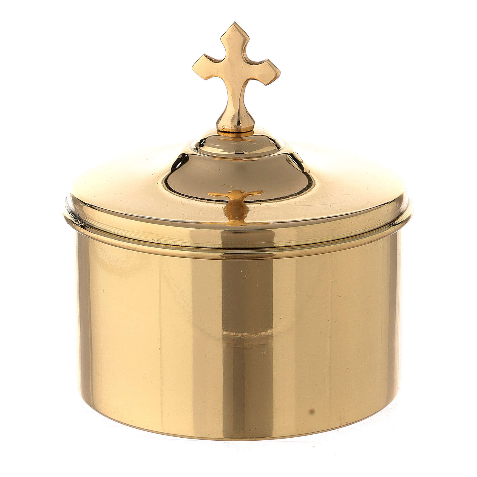 Gold plated brass altar bread box with cross h 2 3/4 in 3