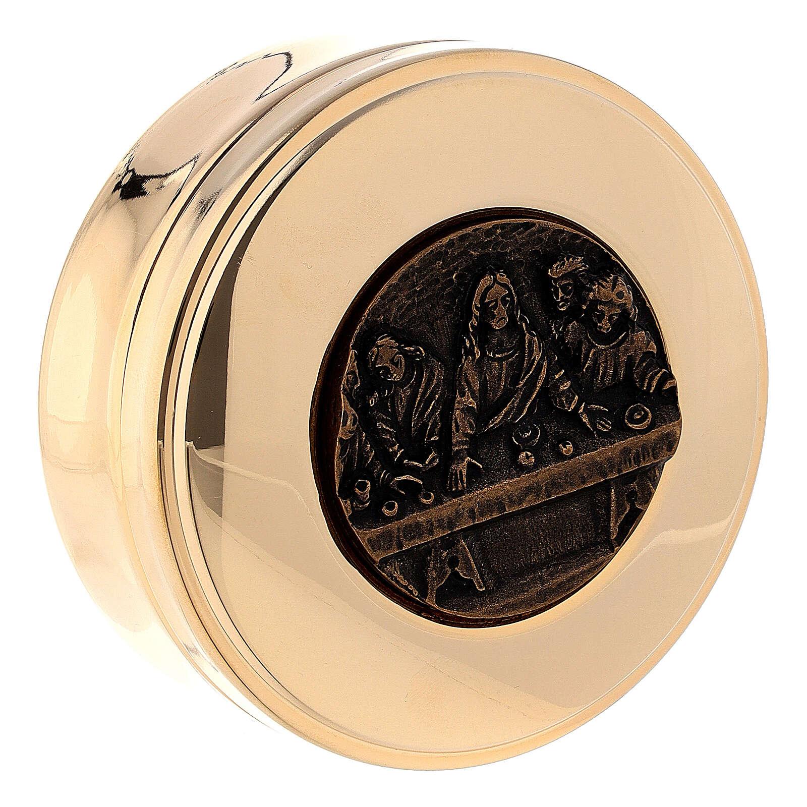 Caja para hostias placa Última Cena bronceada diám 8 cm 3