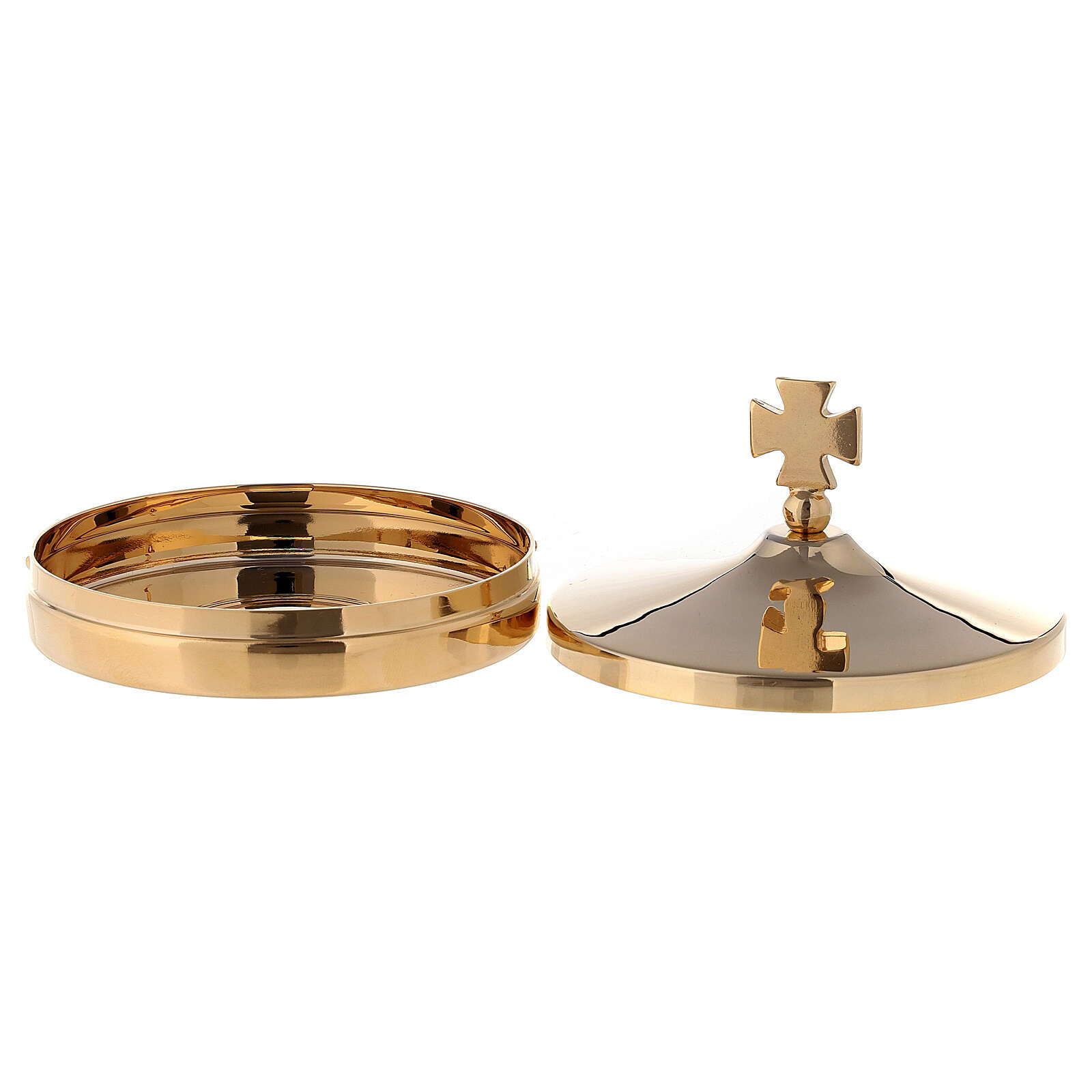 Altar bread box in shiny gold plated brass with cross-shaped handle lid 3