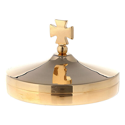 Altar bread box in shiny gold plated brass with cross-shaped handle lid 1