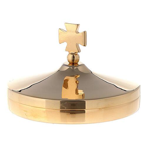Communion host box diam 8 cm in 24k gold plated brass 1