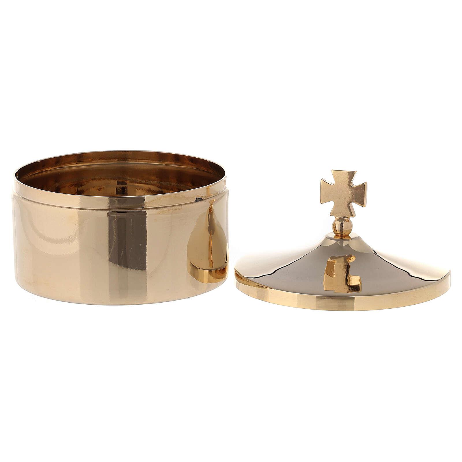 Porta ostie in ottone dorato 24K diam 8 cm 3