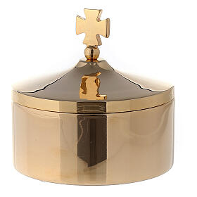 Communion pyx in 24k gold plated brass diam 8 cm s1