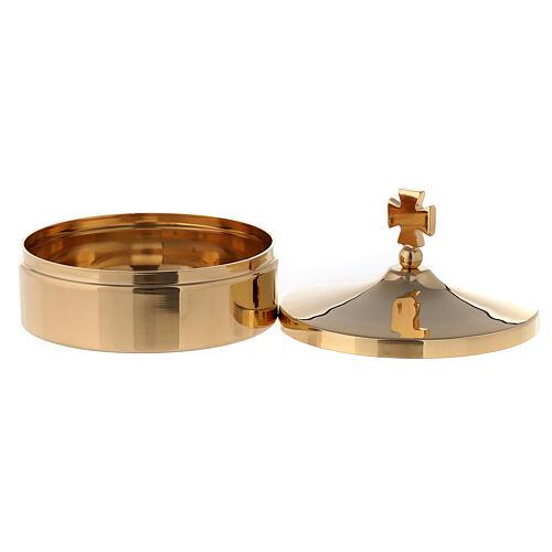 Caja para hostias diám 8 cm de latón dorado lúcido 24k 2
