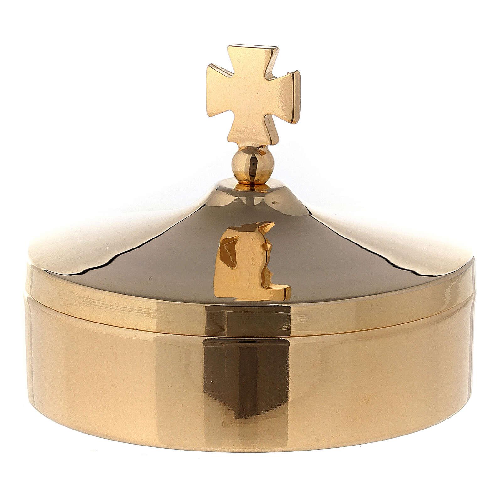 Custode hosties diam. 8 cm en laiton doré brillant 24K 3