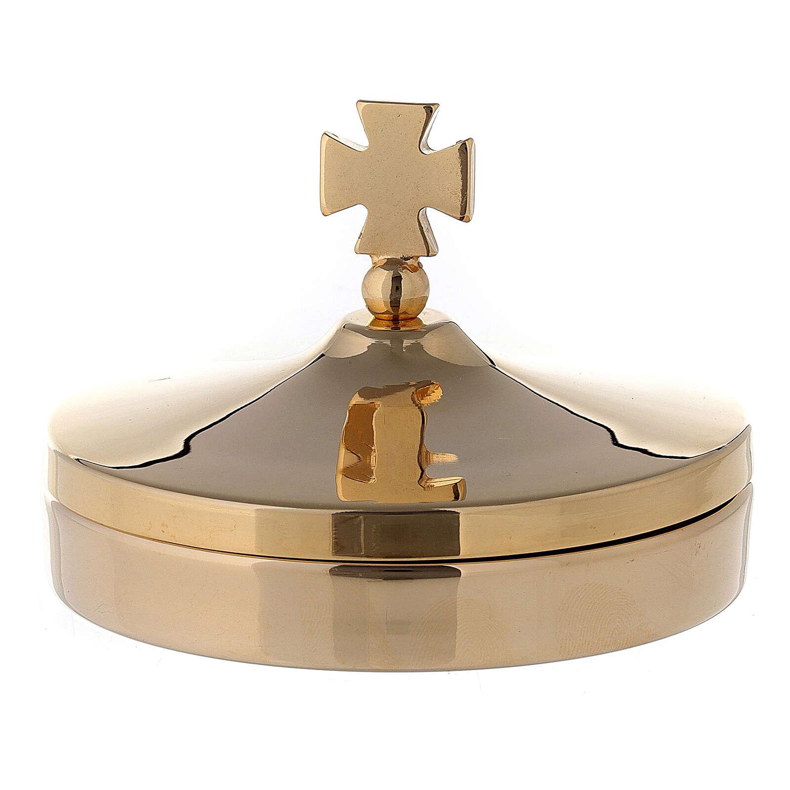 Scatola porta ostie diam 8 cm in ottone dorato lucido 24K 3