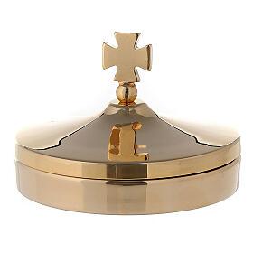 Scatola porta ostie diam 8 cm in ottone dorato lucido 24K s1