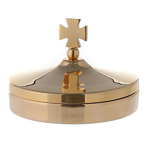 Scatola porta ostie diam 8 cm in ottone dorato lucido 24K 1