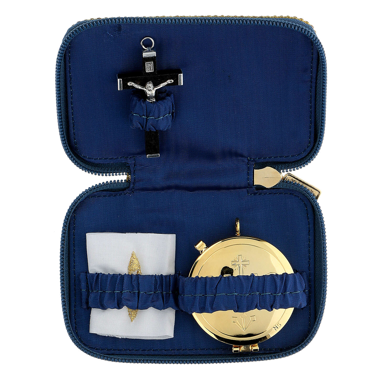 Pastoral sick call set in blue Blessed Virgin Mary case, pyx diam 5.5 cm 3