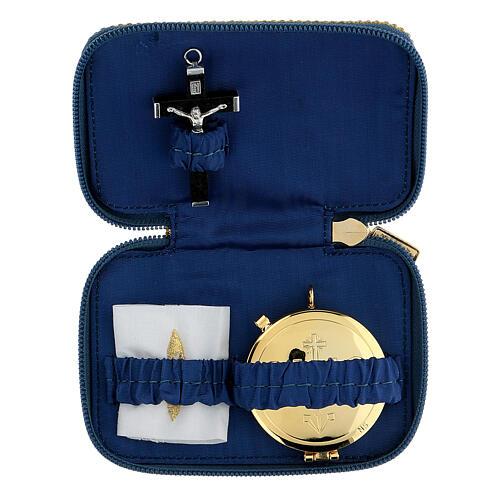 Pastoral sick call set in blue Blessed Virgin Mary case, pyx diam 5.5 cm 1
