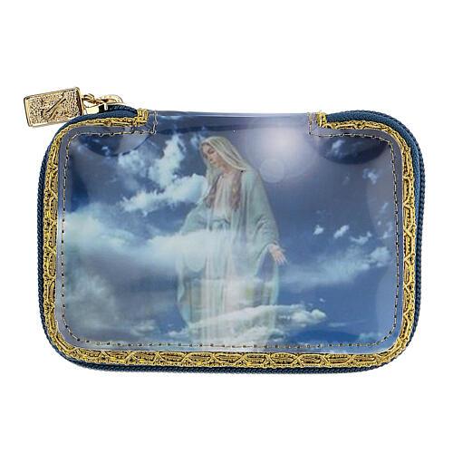 Pastoral sick call set in blue Blessed Virgin Mary case, pyx diam 5.5 cm 2