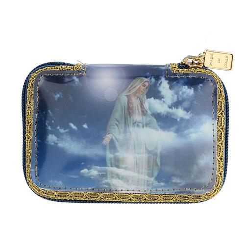Pastoral sick call set in blue Blessed Virgin Mary case, pyx diam 5.5 cm 7