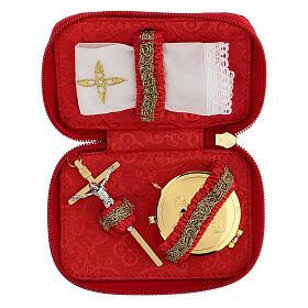Estuche para viático rojo Virgen de Guadalupe relicario diám 5,5 cm s2