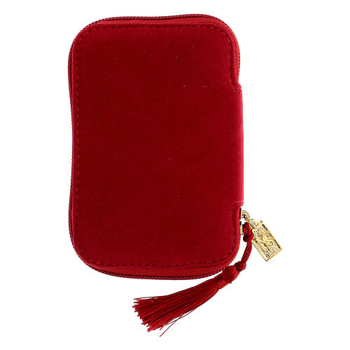 Estuche para viático rojo Virgen de Guadalupe relicario diám 5,5 cm 7