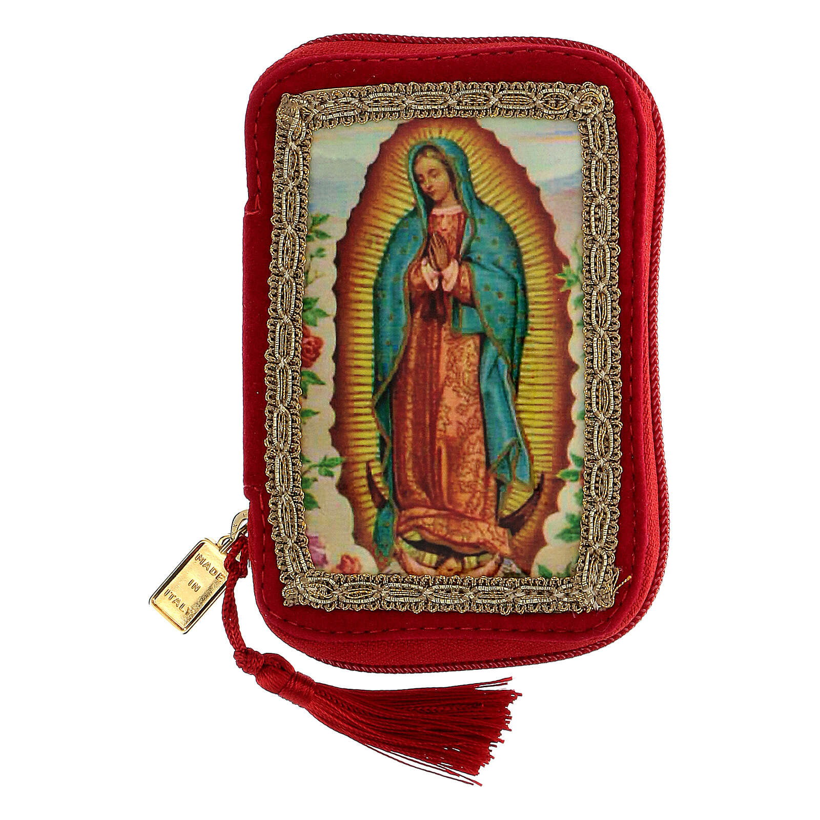 Sick call set with Virgin of Guadalupe red case, pyx diam 5.5 cm 3