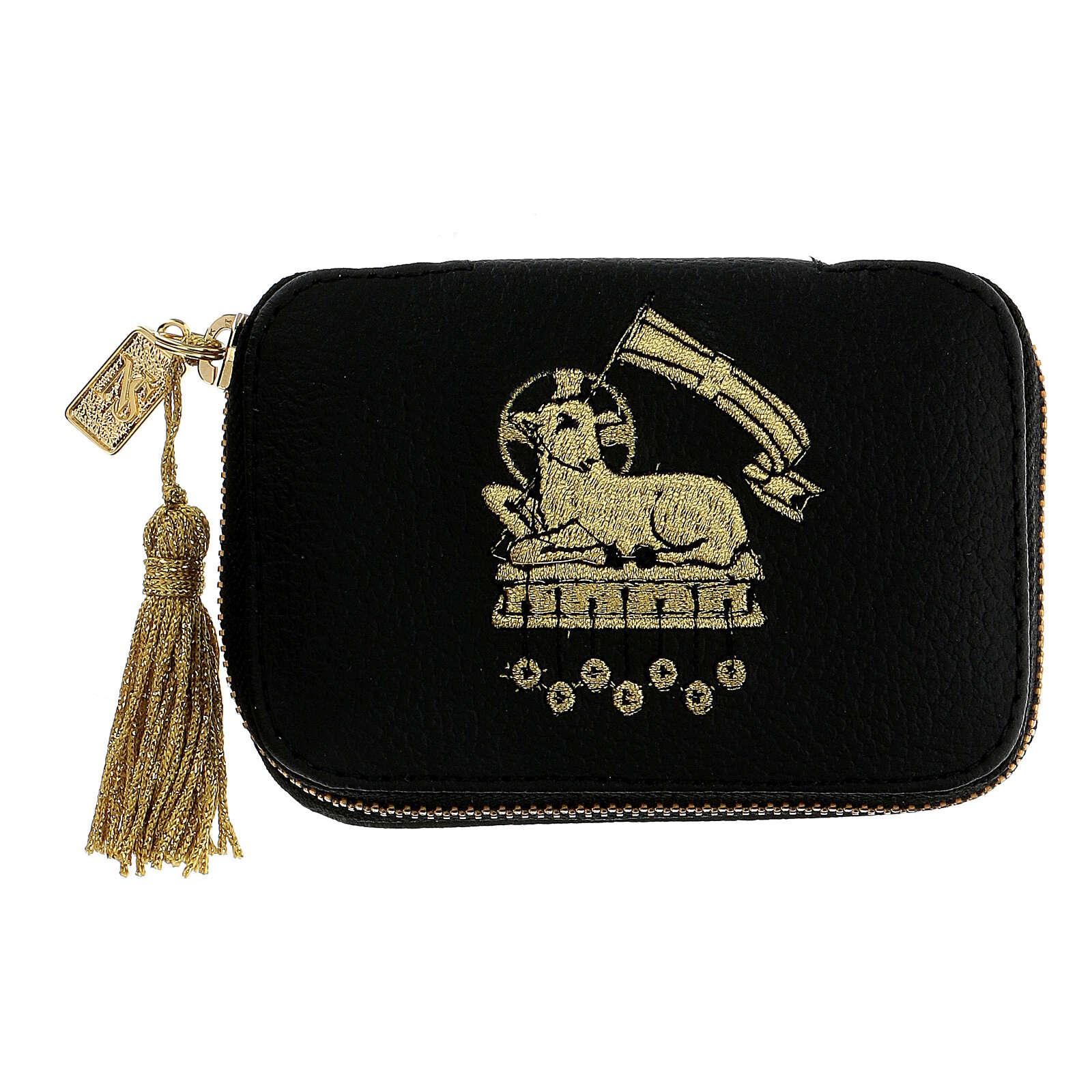 Leather Viaticum sick call set with lamb, pyx diam 5.5 cm 3