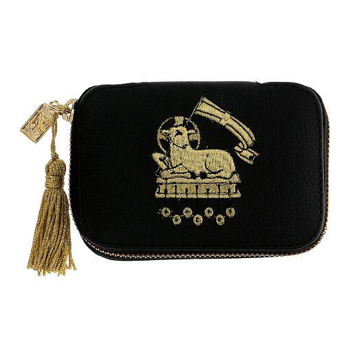 Leather Viaticum sick call set with lamb, pyx diam 5.5 cm 1