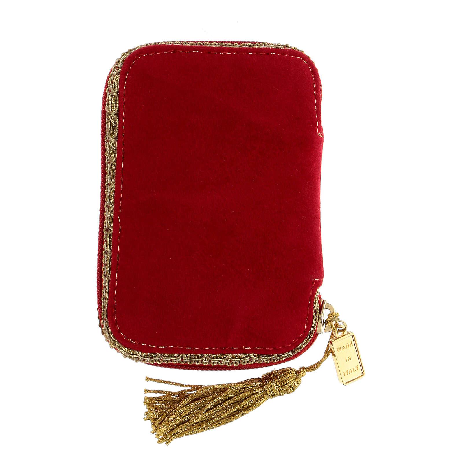 Estuche para viático rojo tejido flocado decorado cruz relicario 5,5 cm 3