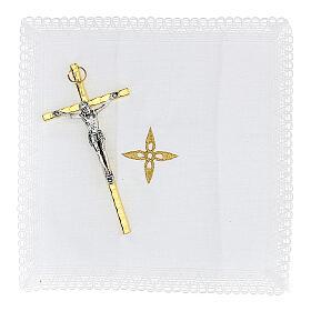 Estuche para viático rojo tejido flocado decorado cruz relicario 5,5 cm s4