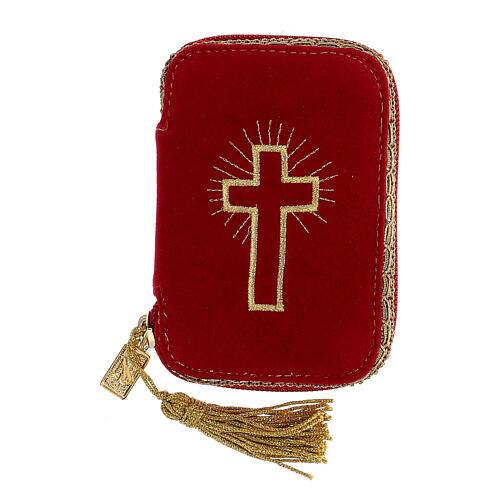 Estuche para viático rojo tejido flocado decorado cruz relicario 5,5 cm 1