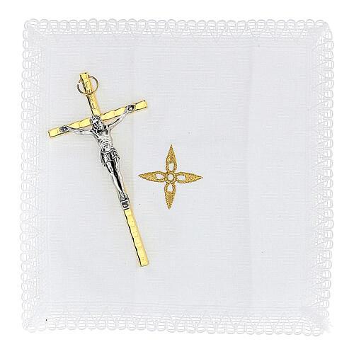 Estuche para viático rojo tejido flocado decorado cruz relicario 5,5 cm 4