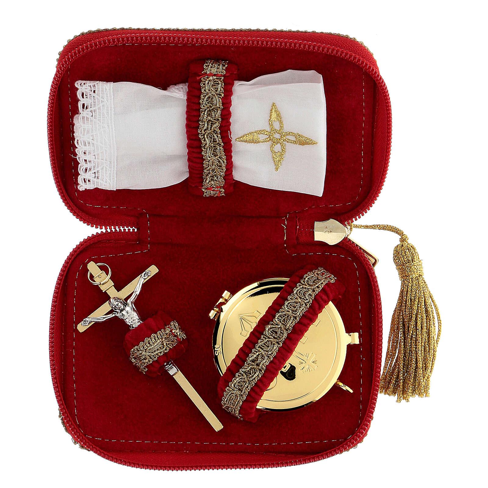 Étui pour viatique rouge en tissu croix custode diam. 5,5 cm 3