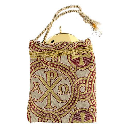 Bolsa dorada de tejido brocado con bordados 10,5x9,5 1
