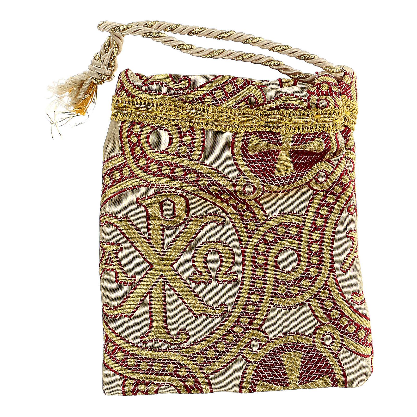 Sacchetto dorato in tessuto broccato con ricami 10,5x9,5 3