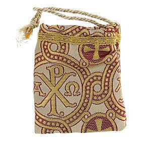 Sacchetto dorato in tessuto broccato con ricami 10,5x9,5 s6