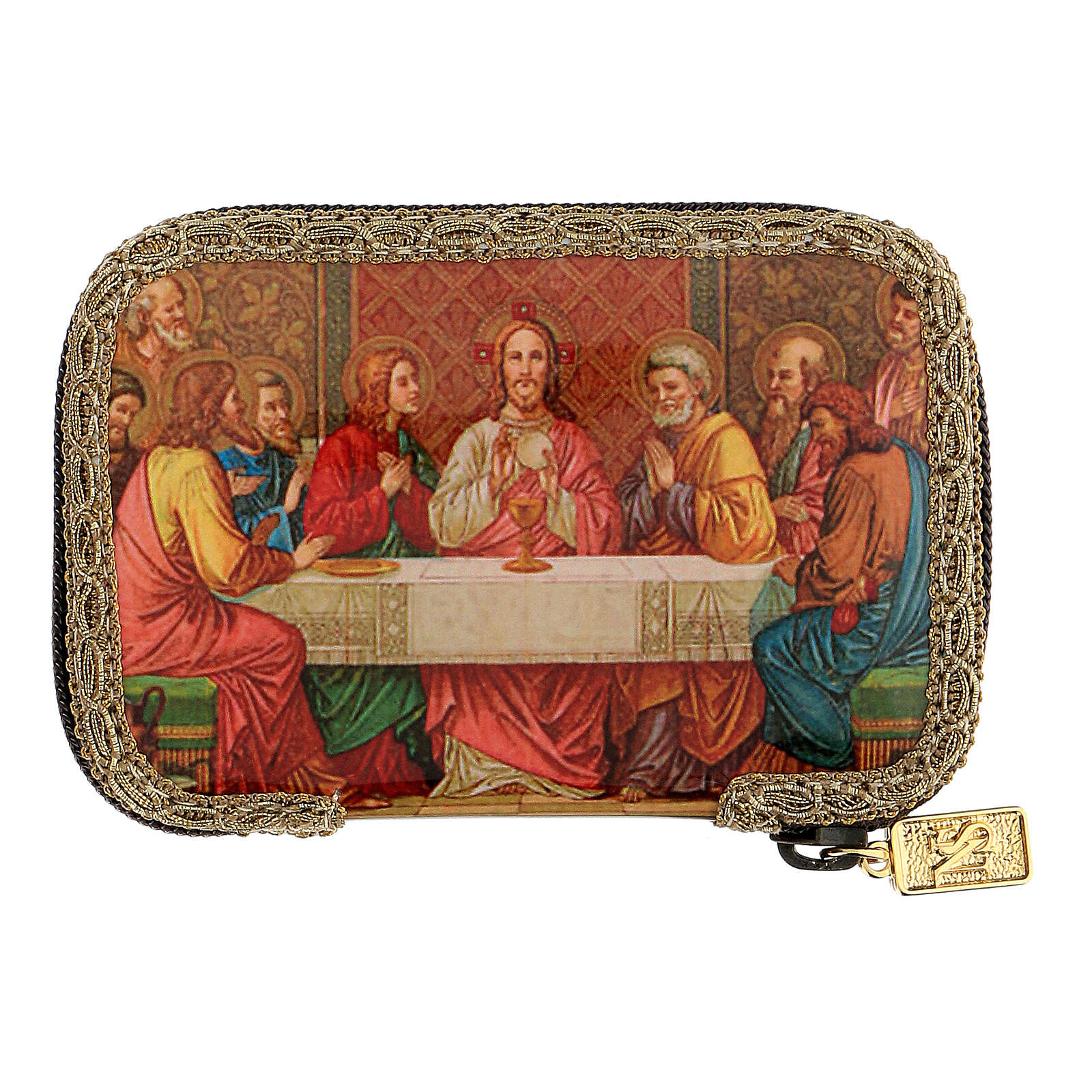 Orange sick call set with Last Supper case, pyx 5.5 cm 3