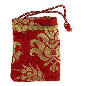 Bolsa para viático rojo de tejido brocado relicario 5 cm s6