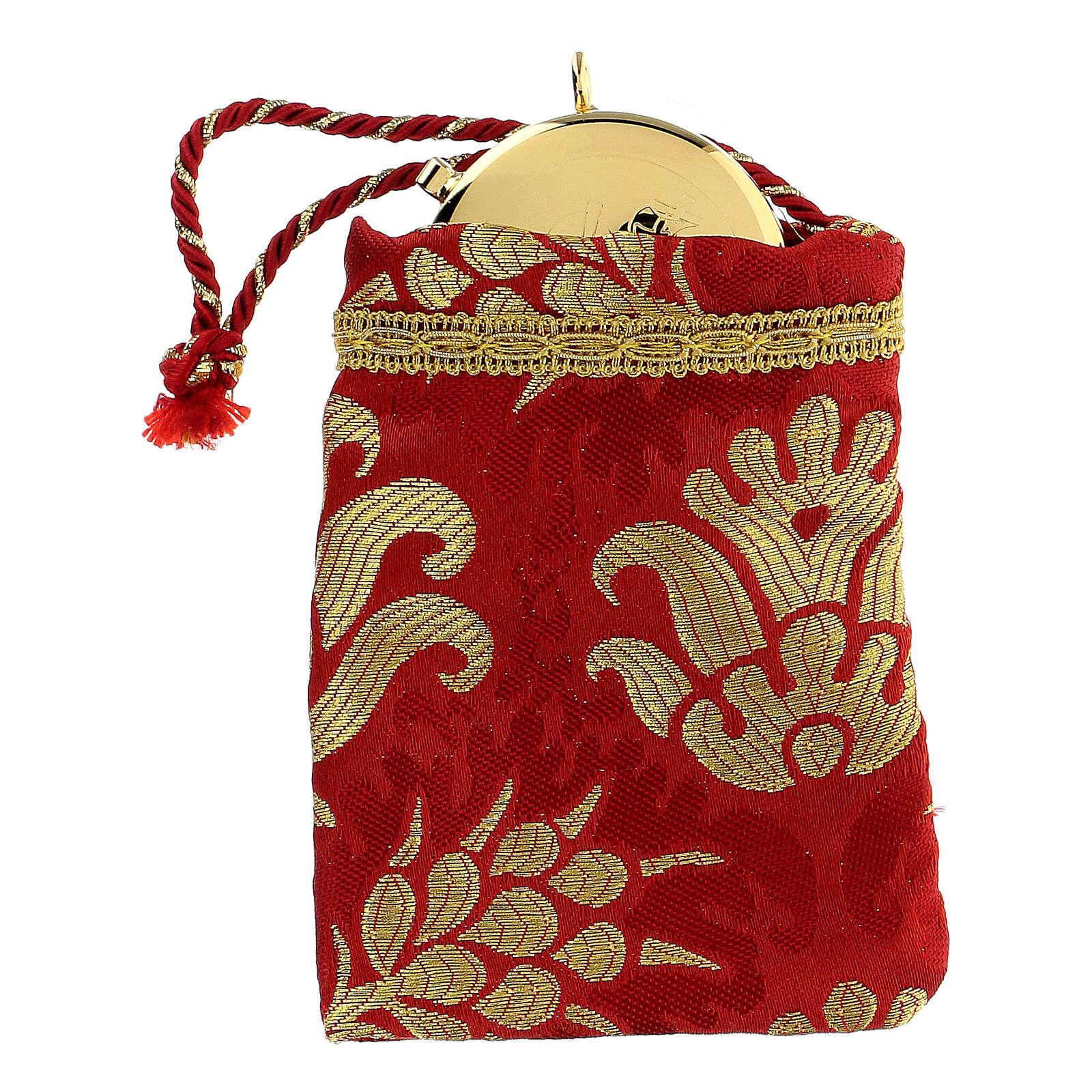 Sachet pour viatique rouge en tissu brocard custode 5 cm 3