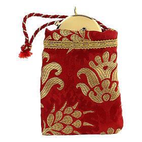 Sacchetto portaviatico rosso in tessuto broccato teca 5 cm s1