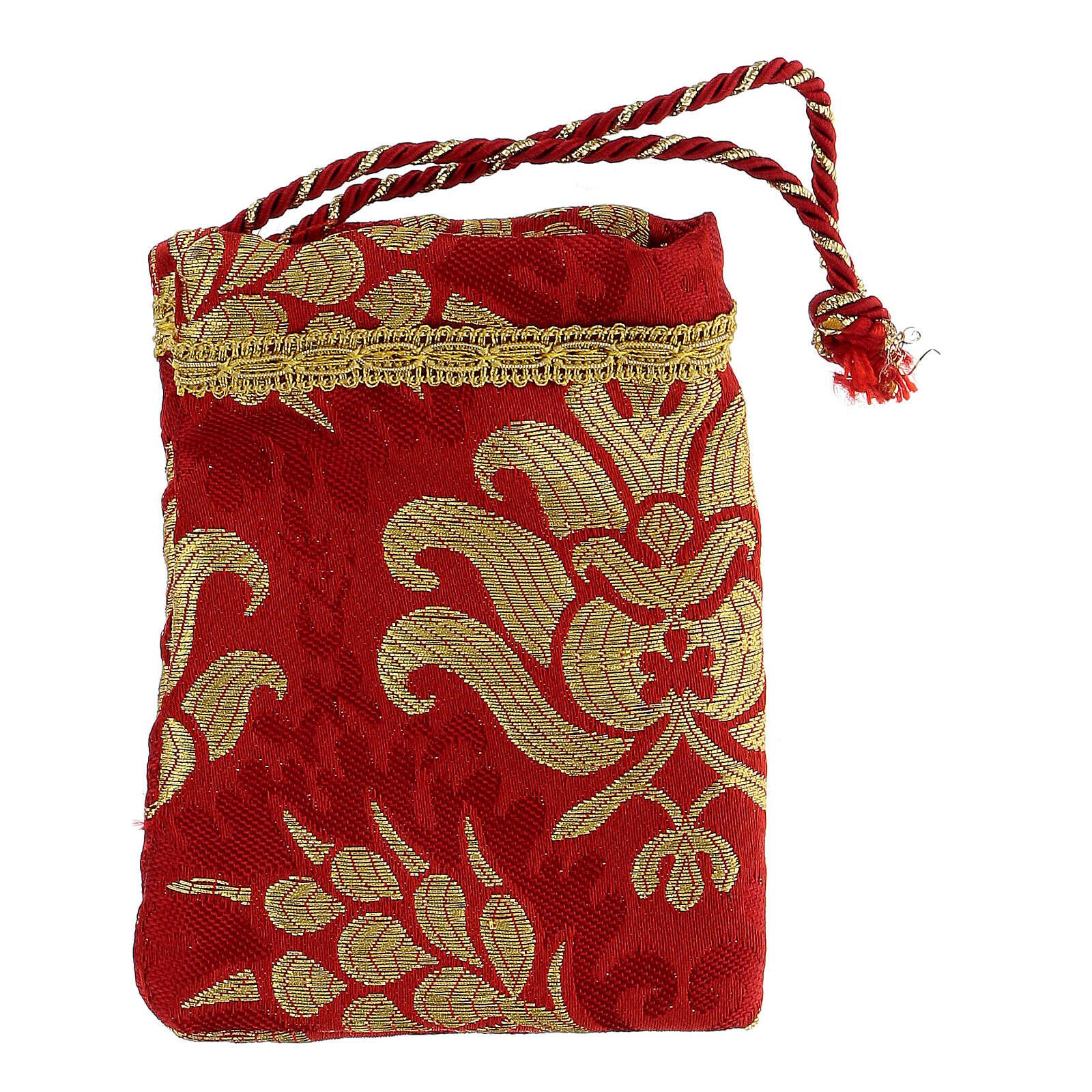 Viaticum red burse made of brocade fabric 2 in 3