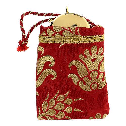 Viaticum red burse made of brocade fabric 2 in 1