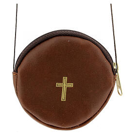 Brown real leather case, red cross 8 cm s1