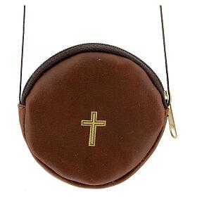 Étui pour custode à hosties rond cuir marron véritable 8 cm avec cordon s1
