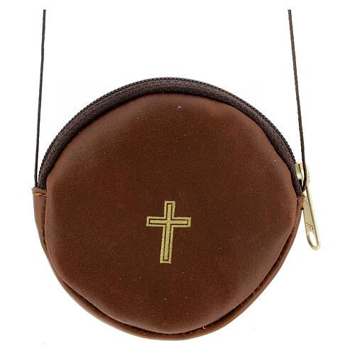 Étui pour custode à hosties rond cuir marron véritable 8 cm avec cordon 1