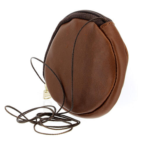 Étui pour custode à hosties rond cuir marron véritable 8 cm avec cordon 2