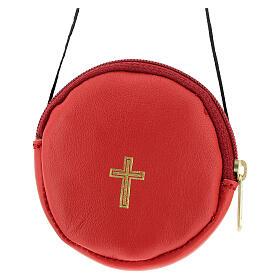 Étui pour custode à hosties rond cuir rouge véritable 8 cm avec cordon s1