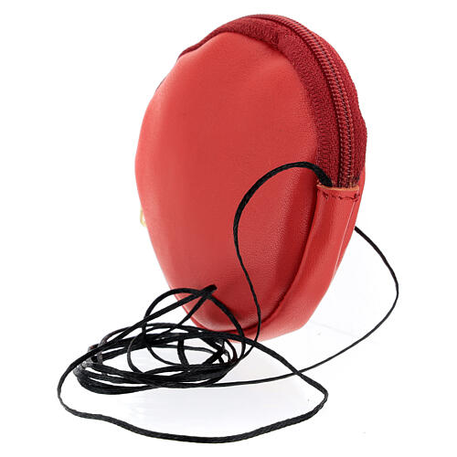 Étui pour custode à hosties rond cuir rouge véritable 8 cm avec cordon 2