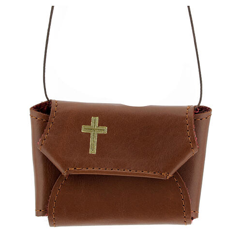 Communion set case with cross and purifier brown leather 1