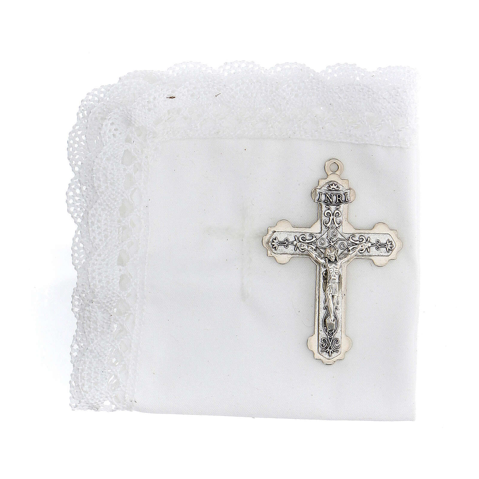 Communion set case with cross and purifier white leather 3