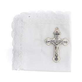 Communion set case with cross and purifier white leather s2