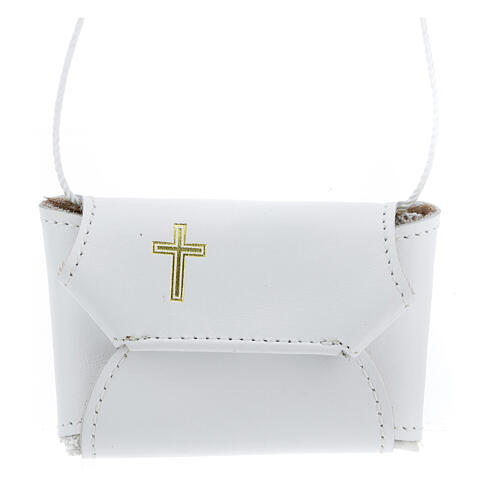 Communion set case with cross and purifier white leather 1