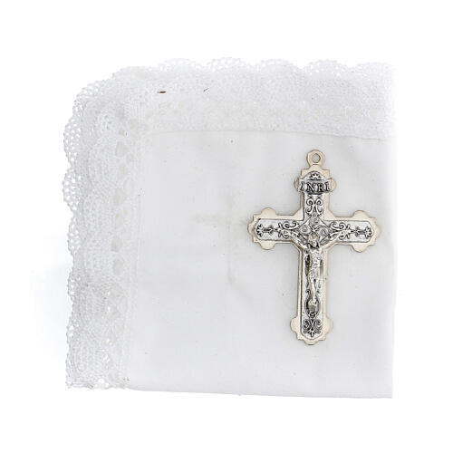 Communion set case with cross and purifier white leather 2