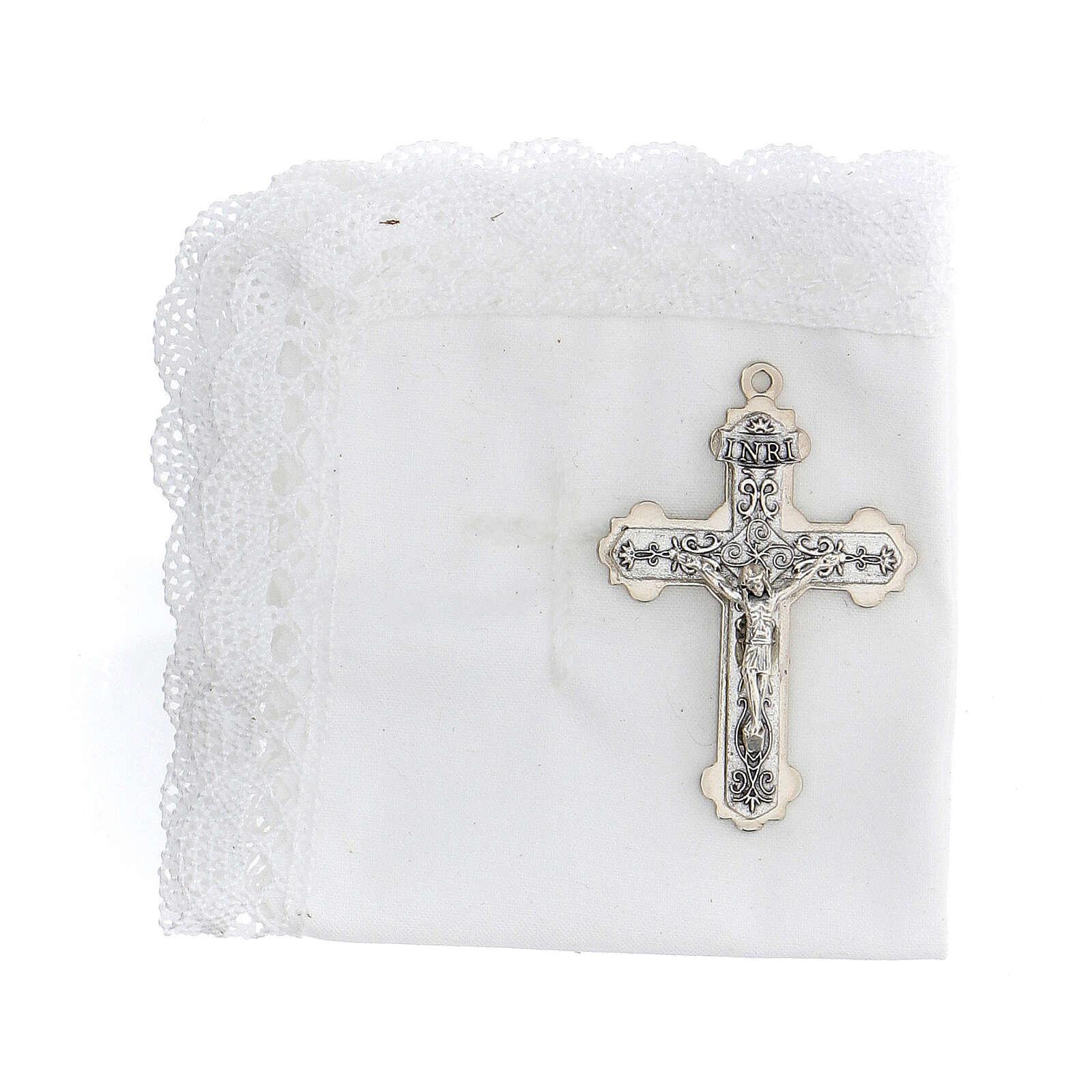 Astuccio set comunione con croce e purifichino pelle bianco 3