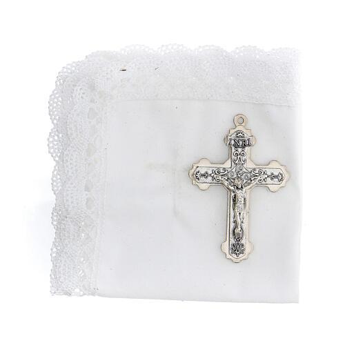 Astuccio set comunione con croce e purifichino pelle bianco 2